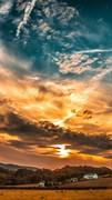 """Москитная сетка - """"Закат. Небо. Облака"""""""